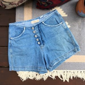Vintage 90s High Rise Button Up Shortie Shorts